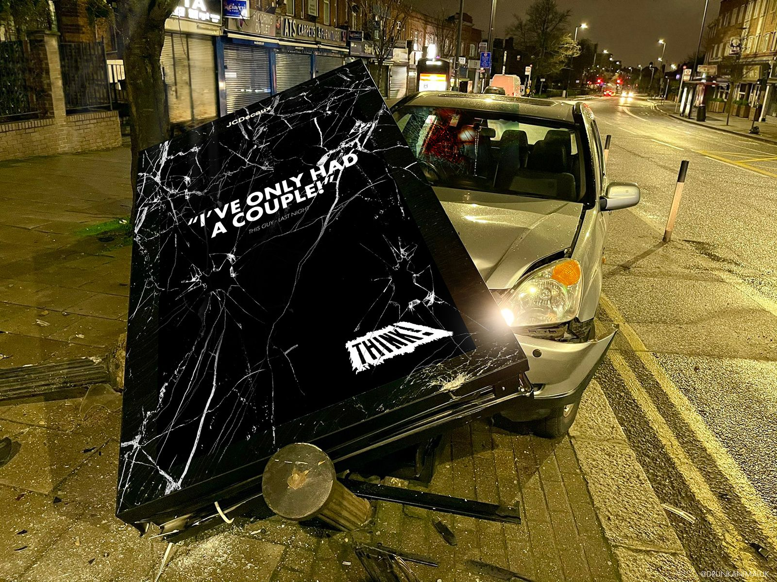 THINK road safety crashed advertising board
