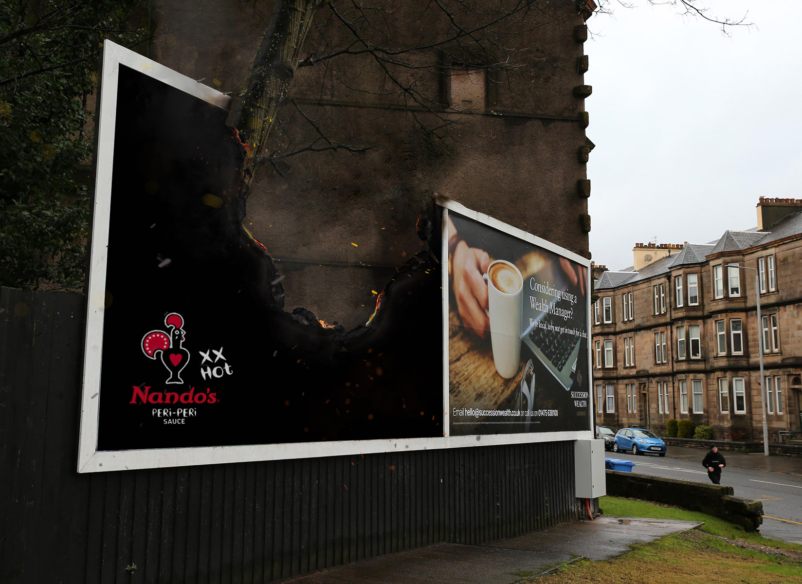 Nando's Per-Peri burning billboard